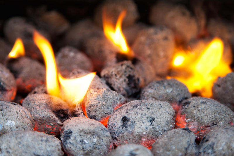 Burning Charcoal Briquettes